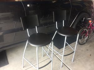 "IKEA-Bar-stools with-backrest-black-silver-color-24-3-4-One year young. 2 chairs excellent condition approximately 26""W x 26""D x 42""H; for Sale in Plainfield, IL"
