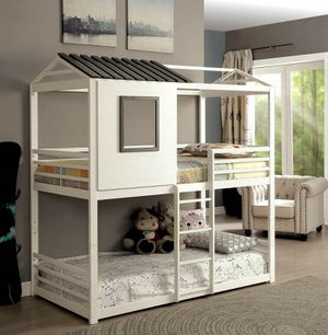 WHITE / GUN METAL FINISH TWIN SIZE BUNK BED HOUSE DESIGN for Sale in Riverside, CA