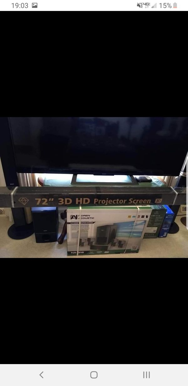 """Projector, 72"""" screen, and sound system"""