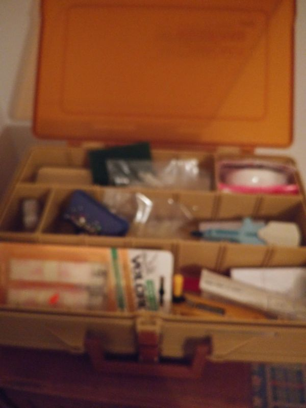 Fishing box vintage magnum 2sided loaded sewing stuff