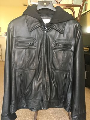 Brand New Black Leather Jacket With Hoodie $65 for Sale in Davenport, FL