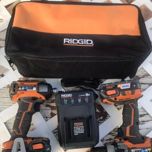 RIDGID 18-Volt Lithium-Ion Cordless Brushless Hammer Drill and Impact Driver 2-Tool Combo Kit with (2) 20Ah Batteries, Charger for Sale in Bloomington, CA