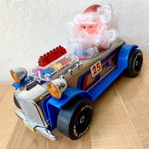 Vintage 1970s Cien Ge Toys Bump And Go Musical Santa Tin And Plastic 25 Race Car Collectible Toy With Lights for Sale in Elizabethtown, PA