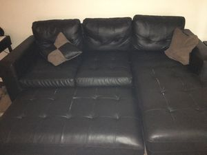 Leather dark coffee couch with futon for Sale in Orlando, FL
