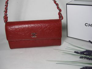 Chanel Red Floral Lambskin Leather CC Long Flap Bag Wallet for Sale in McHenry, IL