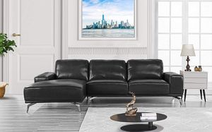 Divano Roma Furniture - Modern Real Leather Sectional Sofa, L-Shape Couch w/Chaise on Left (Black) for Sale in New York, NY