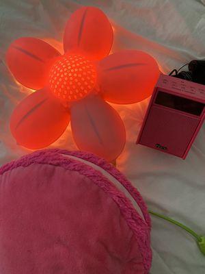Pink room light, iHome radio, pillow for Sale in Laguna Beach, CA