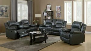 3pc grey or black leather reclining sofa set w/cup hol for Sale in Marietta, GA