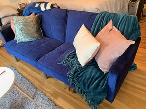 Wayfair blue velvet couch/futon. 8 months old. for Sale in San Francisco, CA