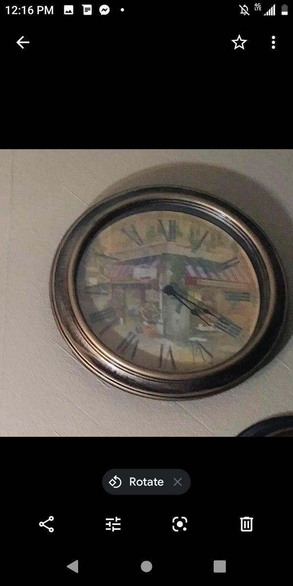 """Paris corner deli 12"""" clock and frame"""