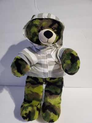 "Build A Bear Camo Teddy Bear Plush Green Brown Camouflage Stuffed Animal 15"" for Sale in Queens, NY"