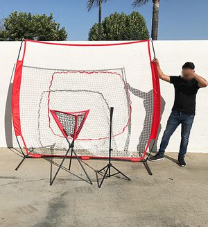 Brand new $95 Baseball Practice (3pc Set) includes the 7'x'7 Net Bow Frame, Ball Tee and Caddy Bag for Sale in Pico Rivera, CA