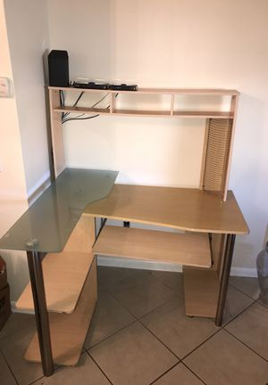 Office Computer desk with glass table and cd storage for Sale in Port St. Lucie, FL
