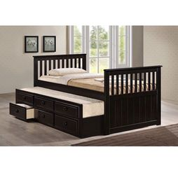 Brand New Twin Over Twin Trundle Bed Frame With Three Drawers for Sale in Pomona,  CA