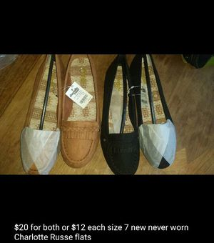 2 pairs of Charlotte Russe flats for $20, size 7 NEW for Sale in Lake Elsinore, CA