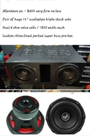 Audiopipe triple stack subs in superbass pro box for Sale in Fullerton, PA
