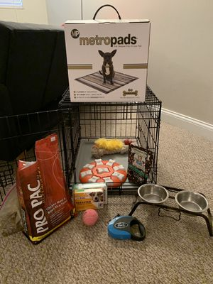 Small crate, food and water bowl, toys, food, treats, leash, dog puzzle, puppy pads, flea and tic meds for Sale in Columbus, OH