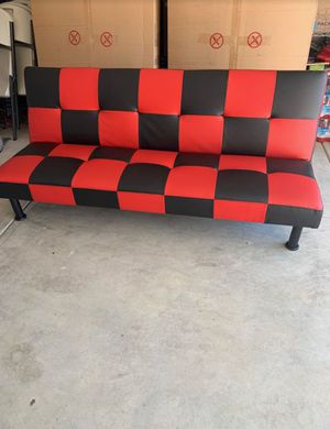 Brand New Red & Black Checkered Leather Tufted Futon for Sale in Renton, WA
