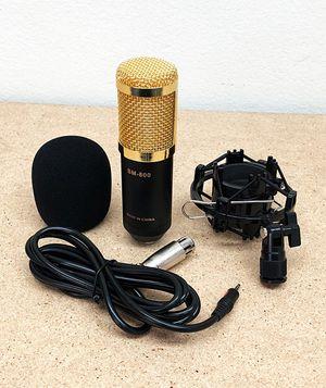 New $20 BM800 Condenser Microphone Kit Shock Mount Record Mic Anti-Wind Cap Studio Black for Sale in El Monte, CA