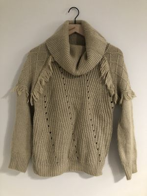 Beige turtleneck sweater with fringe detail for Sale in Indianapolis, IN