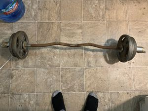 Curl bar with weights for Sale in Gardena, CA