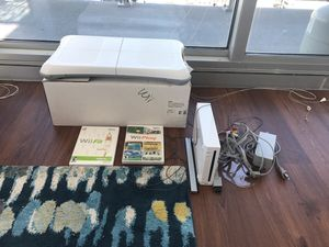 Nintendo Wii with 2 controllers, 2 games, balance board for Sale in Chicago, IL