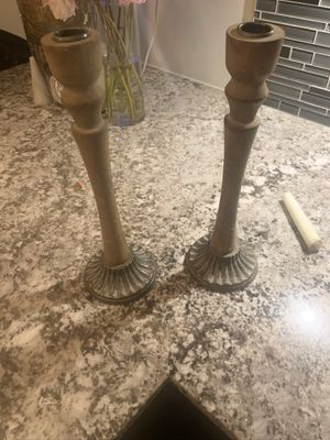 Magnolia Market Wooden Candle Taper Holders w silver base x 2 for Sale in Austin, TX