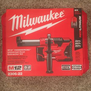 Brand new Milwaukee M12 HAMMERVAC Universal Dust Extractor Kit power tools for Sale in Seattle, WA