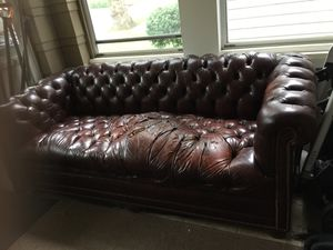 Brown leather chesterfield sofa couch for Sale in Montclair, NJ