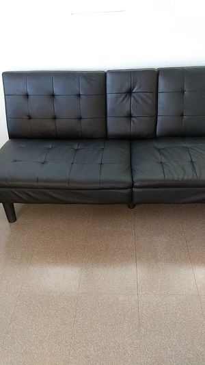 Leather black futon for Sale in Las Vegas, NV