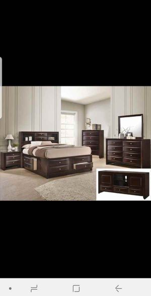 BRAND NEW QUEEN BEDROOM SET INCLUDES BED FRAME DRESSER MIRROR AND NIGHTSTAND ADD MATTRESS ALL NEW FURNITURE BY USA MEXICO FURNITURE 3 DIFERENT COLORS for Sale in Ontario, CA