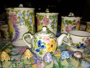 Beautiful tea set with matching cookie jars and spice shakers for Sale in Anaheim, CA