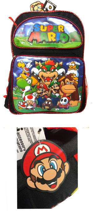NEW! Super Mario bros Backpack, Mario party school travel kids bag book bag kids bag video games princess toadstool Luigi bowser donkey Kong Nintendo for Sale in Carson, CA