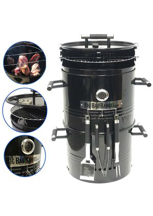 Big Bad Barrel Pit Charcoal Barbeque 5 in 1 Can be Used as a Smoker Grill BBQ, Pizza Oven, Table & Fire Pit.18-Inch Diameter-3 pcs Tool, Set for Sale in La Mirada, CA