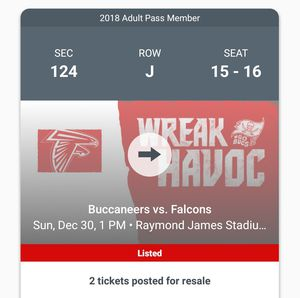 Atlanta Falcons vs. Tampa Bay buccaneers for Sale in Tampa, FL