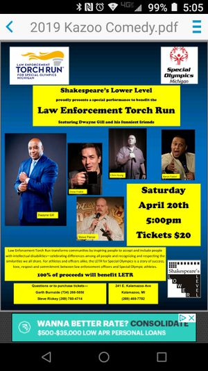 Comedy show tickets to support special Olympics for Sale in Kalamazoo, MI