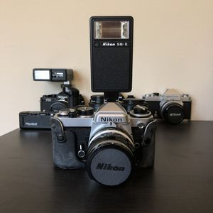 Nikon FE 35mm Film Camera SLR With Lens, Flash, and Case for Sale in Port St. Lucie, FL