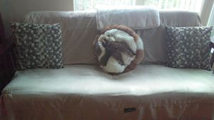 Futon brand new mattress, white cover is tan, frane is brown Folds down to bed.. for Sale in Auburndale, FL