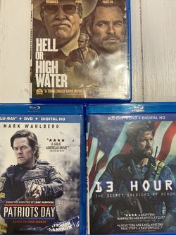 Action Movies: 13 Hours, Patriots Day, Hell Or High Water for Sale in Atlanta,  GA