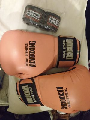 Top king 14oz kickboxing gloves and new ringside hand wraps for Sale in Knoxville, TN