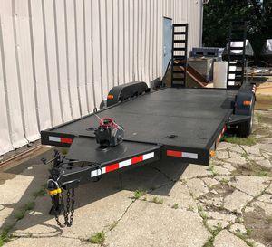 17ft Heavy Duty Flat Bed Trailer Car hauler w Electric Winch for Sale in Southgate, MI