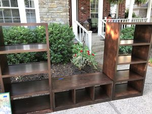 Beautiful custom built wall unit with 2 bookshelves and a bench for Sale in Prospect, KY