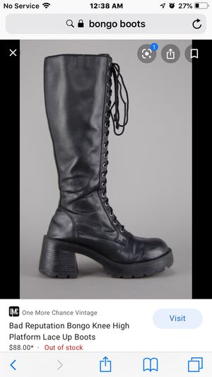 Bongo boots 81/2 . Lace up chunky heels. Grunge/ punk for Sale in Kissimmee, FL