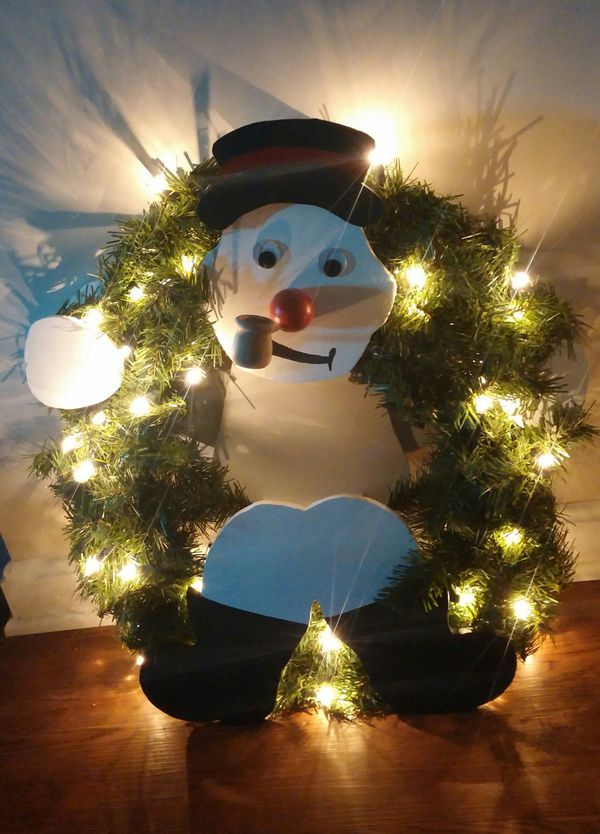 Frosty The Snowman Lighted Christmas Wall Wreath