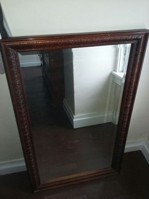 Hand-Carved Antique Wooden InLay Japanese RedWood Mirror for Sale in York, PA