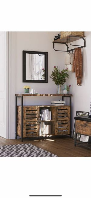 Kitchen Storage Sideboard, Entry Console Table Cabinet, with Cupboard and Shelves, Louvered Doors, for Dining Room, Living Room, Hallway, Bedroom, Ru for Sale in Corona, CA