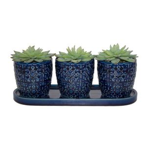 Deep blue ceramic pot for 3 small plants for Sale in Chicago, IL