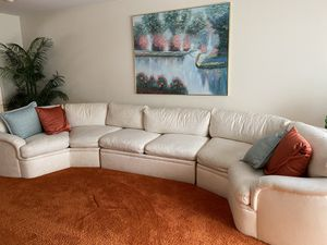 Solid Wood Wall Unit and White Sectional Couch for Sale in White Plains, NY