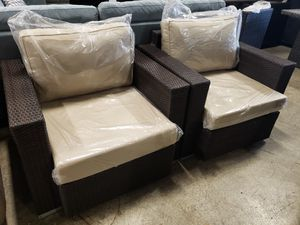 Brand new 2pc outdoor patio furniture set pair of sunbrella club chairs for Sale in San Ramon, CA