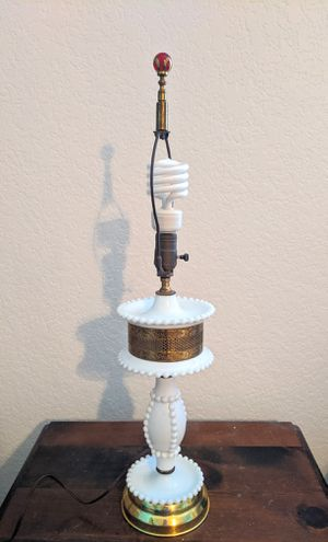 Vintage Milk Glass and Brass Hobnail Table Lamp for Sale in Hesperia, CA